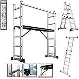 Andamio de aluminio multifunción, escalera plegable, andamio