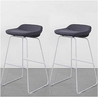 2 Pack Bar Stools Dark Grey Linen Seat Cuban Bar Stool Breakfast Kitchen Counter Chairs Metal Legs Barstools (Size : 75cm)