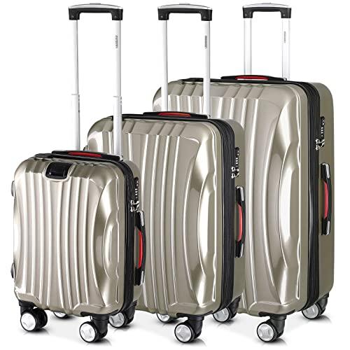 Monzana Set 3 Valigie Trolley Ikarus M L e XL Presa USB e Antifurto TSA Valigia Rigida da Viaggio Bagaglio a Mano