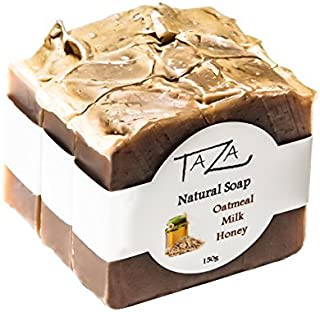 Premium Taza Oatmeal Milk & Honey Natural Soap (Pack of 3) ea. 5.3 oz ♦ Radiant Skin ♦ Contains: Coconut, Olive, and Palm Fruit Oils, Mango Seed Butter, Kaolin Clay, Oats, Honey, Goats Milk