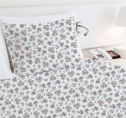 400-Thread-Count 100% Pure Cotton Sheets - 3 Piece Anthro Florals - Multicolor Twin XL Printed Bed Sheet Set, Long Staple Cotton Sateen Weave, Deep Pocket Fits Mattress 15''