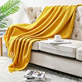 Deeland Throw Blanket Decorative Knitted Textured Solid Soft for Bed Sofa Couch, 50x60 inches