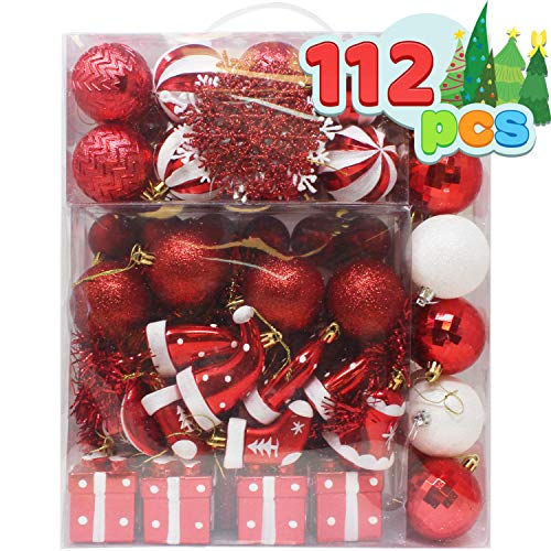 Joiedomi 112 Pcs Red and White Christmas Assorted Ornaments with a Red Star Tree Topper, Shatterproof Christmas Ornaments for Holidays, Party Decoration, Tree Ornaments, and Events