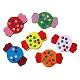 Sadingo – Cuentas de madera multicolor para caramelos, diseño de perlas de madera para manualidades, enhebrados, decorar, pegar, 10 unidades, 27 x 17 mm