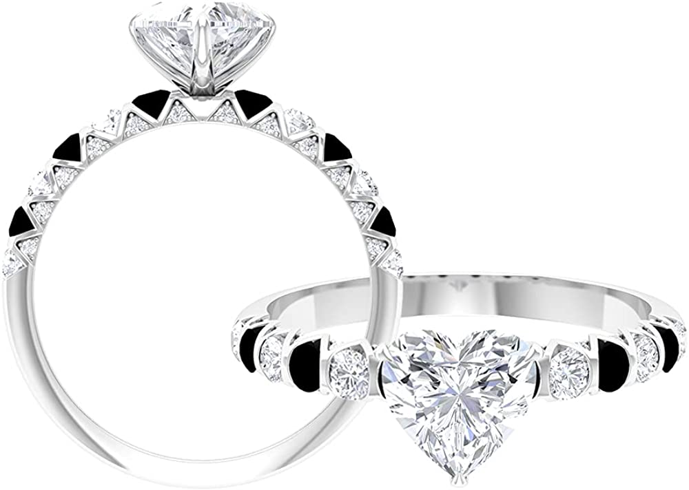 1.75 CT Claw Set Solitaire Moissanite and Black Onyx Ring (D-VSSI Quality),14K White Gold,Moissanite,Size:US 10.50