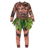 Adult Men Kids Moana Maui T Shirt/Pants Halloween Costume Cosplay Family Matching Outfits (XL DAD)