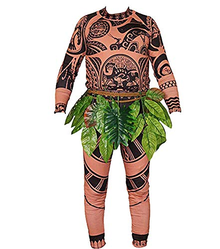 Adult Men Kids Moana Maui T Shirt/Pants Halloween Costume Cosplay Family Matching Outfits (S DAD)