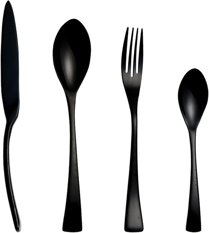 Conjunto de cubiertos negros, conjunto de cubiertos de acero inoxidable de 4 piezas, cubiertos de cocina de cocina natural de satén modernos, cubiertos comestibles,