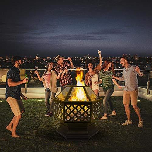 ZHANG 22' Hexagon Fire Pit Portable Outdoor Heater Fire Pit Backyard Terrace Garden Stove Flame Retardant Grill Fireplace Terrace Backyard Steel Brazier Wood Heater for Patio Beach, Camping, Picnic