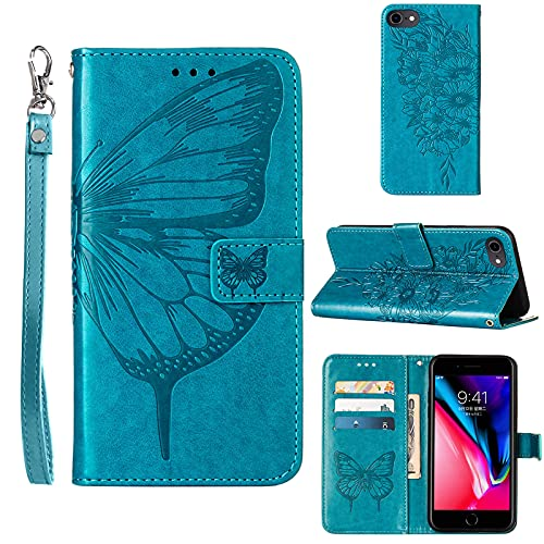Compatible for iPhone 8 Wallet Case,iPhone 7 Case,iPhone SE 2020 Case,iPhone 6/6S Case,[Kickstand][Wrist Strap][Card Holder Slots] Butterfly Floral Embossed PU Leather Flip Protective Cover (Blue)