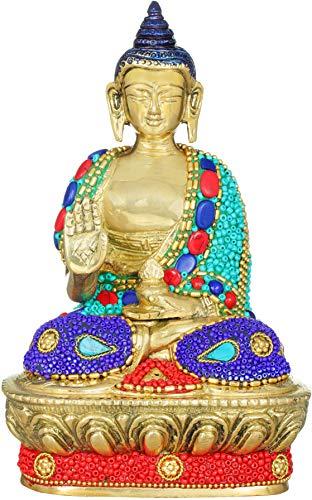 Exotic India Blessing Buddha - Tibetan Buddhist - Brass Statue with Inlay