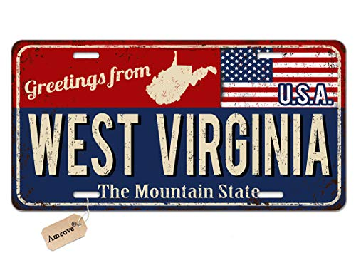Amcove License Plate Greetings from West Virginia Vintage Rusty Metal Sign with American Flag Automotive high Gloss Metal License Plate, Aluminum License Plate, Front License Plate - 6' x 12' inch