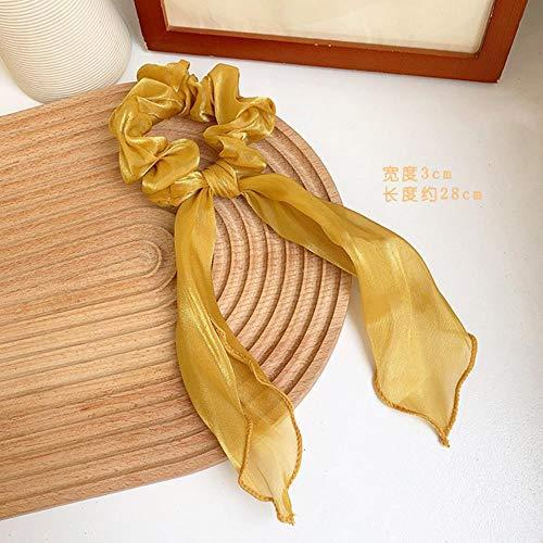 WYN Mujer Colores Amarillos Scrunchies Corbatas para el pelo de la cola de caballo titulares de la cuerda del pelo adornos para la cabeza