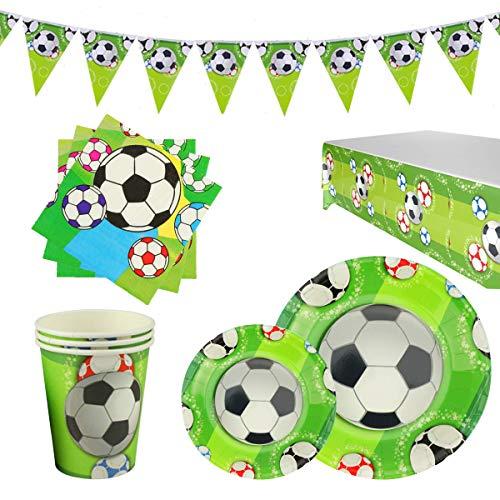 RPARTY Decoraciones Fútbol y Vajilla Papel Fiesta Feliz Cumpleaños para Niños 16 Invitados El Juego de 78 Piezas Incluye Platos, Vasos, Mantel, Servilletas,Guirnalda