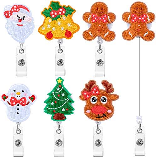 6 Pieces Christmas Badge Reel Retractable Holder Retractable Id Felt Badge Holder Teacher Badge Clip Christmas Tree Reindeer Snowman Gingerbread Man Jingle Bell