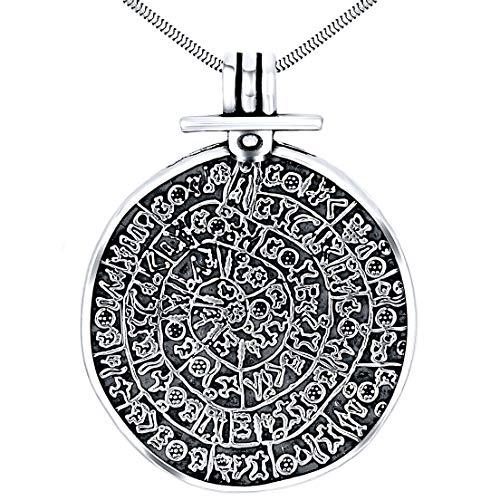 Colgante de plata de ley 925 oxidada de Phaistos Disc Jewellery Minoan Object Antiguo Griego Extra Grande Colgante Collar para Mujer
