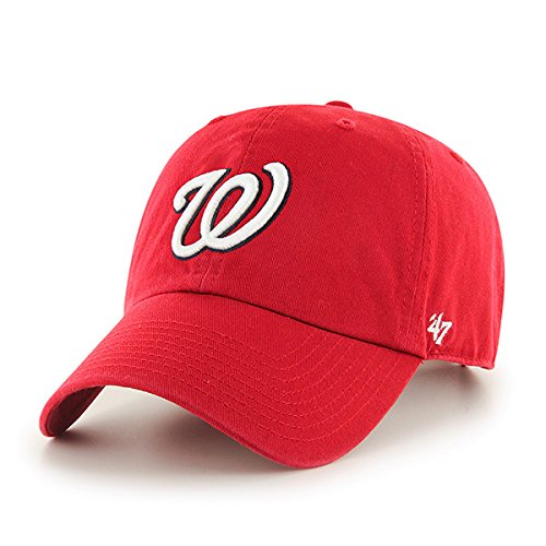 Washington Nationals Men's Clean Up Cap, One-Size, Red (For Adults)