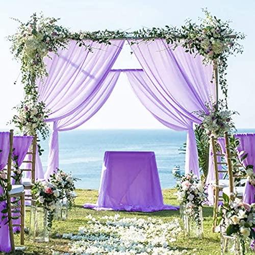Chiffon Backdrop Curtain Lavender 2 Panels 29''x120'' Chiffon Fabric Drape for Parties Blackout Voile Sheer Curtains Tulle Fabric Drapes for Wedding Party Stage Decoration