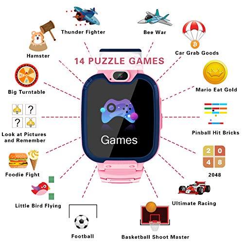 Smartwatch Niños - MP3 Música 14 Juegos Niños Reloj Inteligente llamada Chat de Voz SOS linterna Cámara Vídeo Digital Pantalla Táctil HD Deporte Reloj de Pulsera Digital Para Niños De 4-12 Años (Rosa) miniatura