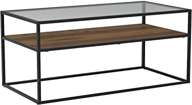 Walker Edison Furniture Company Modern Reversible Shelf Rectangle Coffee Accent Table Living Room, 40 Inch, Reclaimed Barnwood Brown/Grey