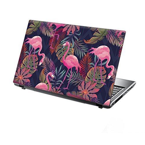 TaylorHe 15.6 inch 15 inch Laptop Skin Vinyl Decal with Colorful Patterns and Leather Effect Laminate MADE IN England Tropical Flamingos