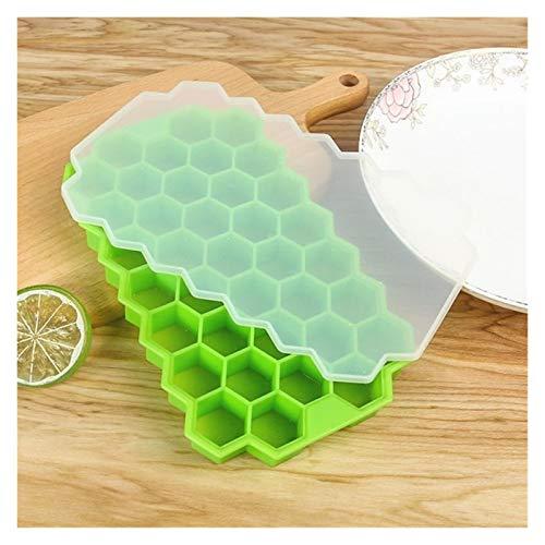 Bandeja para cubitos de hielo creativa, molde para cubitos de hielo de silicona, para bebidas frías con tapa (color: verde)