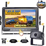 Wireless Backup Camera for RV HD 1080P LeeKooLuu 7 Inch Touch Button Monitor High-Speed Rear View System Adapter Compatible with Furrion Pre-Wired RVs Trailers Trucks 5th Wheel DIY Grid Lines F06