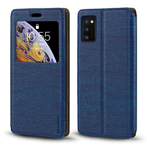 Schutzhülle für Samsung Galaxy A41, Holzmaserung, Leder, mit Kartenhalter und Fenster, Magnetverschluss, für Samsung Galaxy A41 (Blau)