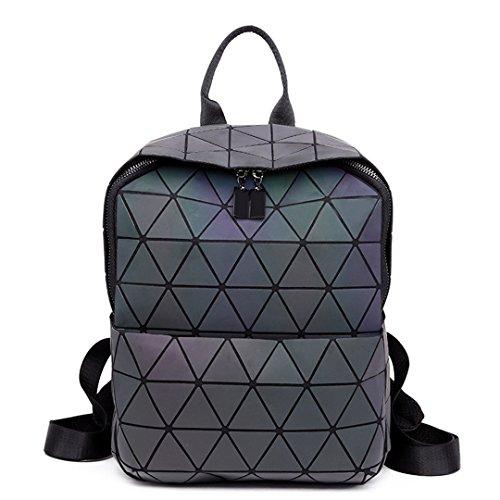Bolso plegable geométrico de las mujeres Bolso escolar pequeño de las estudiantes para las muchachas adolescentes Holograma Mocasines diarios informales de la PU de la mochila
