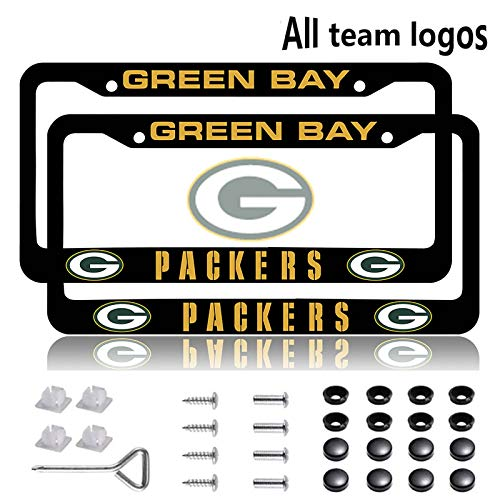 Fit Green Bay Packers License Plate Frames 2 Pack, Aluminum Alloy Packers License Plate Holder,Universal American Auto Licence Plate Frame Covers, Rust-Proof, Rattle-Proof, Weather-Proof (Fit Packers)