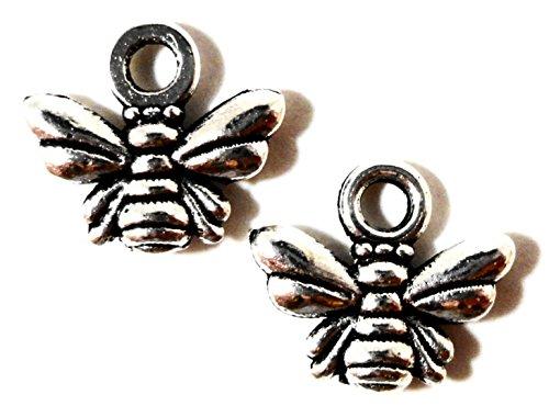 Dojore Bienen-Anhänger, Silber, 50Stück 10x 11-mm-Anhänger.Ideal zum Erstellen von handgefertigten Armbändern, Ohrringen, Ketten und Schmuck.