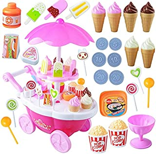 Beauenty Playset Toy Candy Ice Cream Car Toys Pretend Play Set Toy Pink Fun Toys 39 Pieces For Girls Gift