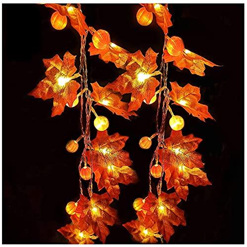 19.6 pies / 40 hojas de arce LED decoraciones de acción de gracias con luz de calabaza, luces de guirnalda de otoño impermeables para la fiesta de acción de gracias de Halloween decoración interior