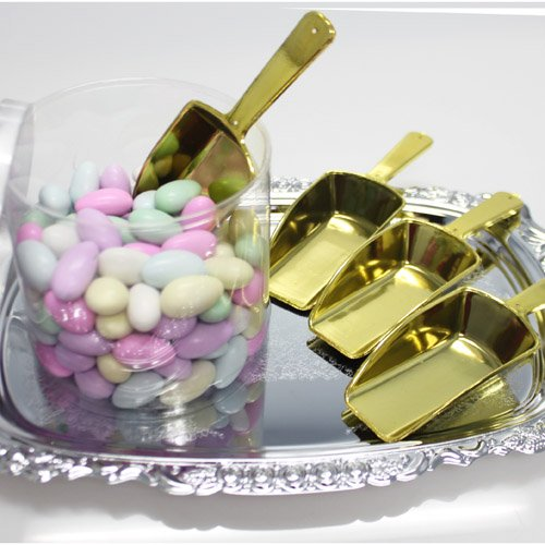 Homeford Small Plastic Candy Scoops, Small/3.25-Inch, Gold, 12-Pack