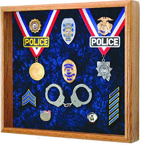 "Law Enforcement Memorabilia Shadow Box Display - 20""x18""x3"" Police, Sheriff, DEA, FBI, CHP, Firefighter"