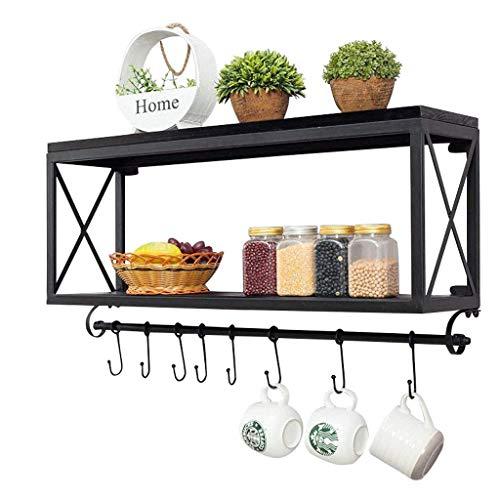 WY-floating shelves Regale American Retro Schmiedeeisen Holz Küchenregale Wandmontage Badezimmer Lagerregal Wohnzimmer Kaffeetasse Regal