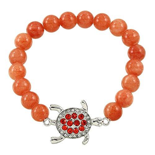Pulsera Falari de piedras preciosas naturales de cristal de la suerte con tortuga