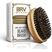 Beard Brush - Pure Boar Bristles - First Cut Firm Hog Hair Brush Natural Solid Wood Body - Works With Your Beard Oil and Balm - Exfoliates Skin For Healthier and Softer Beard - BRV MEN