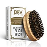 Beard Brush - Pure Boar Bristles - First Cut Firm Hog Hair Brush Natural Solid Wood Body - Works...