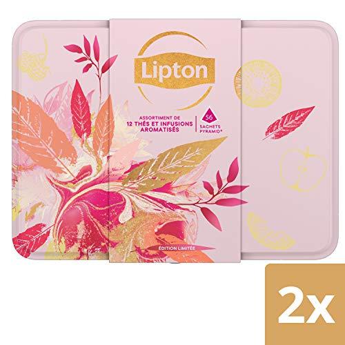 Lipton Coffret Boite en Métal, Assortiment de 12 Thés Noirs, Thés Verts et Infusions, Label Rainforest Alliance 112 Sachets (Lot de 2x56 Sachets)