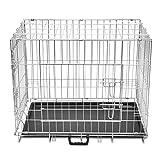 Jaula para Perros de Servicio Pesado, Jaula para Perros de Metal Plegable con 2 Puertas y Forro de plástico para Piso, 95 x 56 x 64 cm