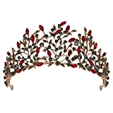 SWEETV Vintage Tiaras and Crowns for Women, Crystal Leaf Metal Tiara, Gothic Queen Crown, Birthday Party Quinceanera Pageant Prom Halloween Costume Headpieces, Red