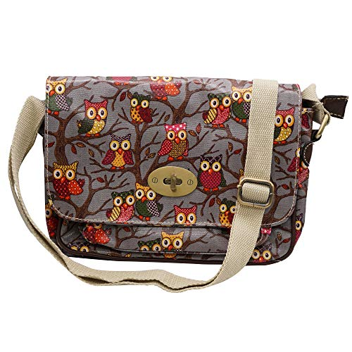 Satchel Oilcloth Owl Printed twist lock Closure Single pocket mini Bags (Grey)