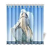 Blue Sea Ocean Shark Dump Out Wasser Duschvorhang Badezimmer Dekor Sets Haken Wasserdichter Polyester Vorhang