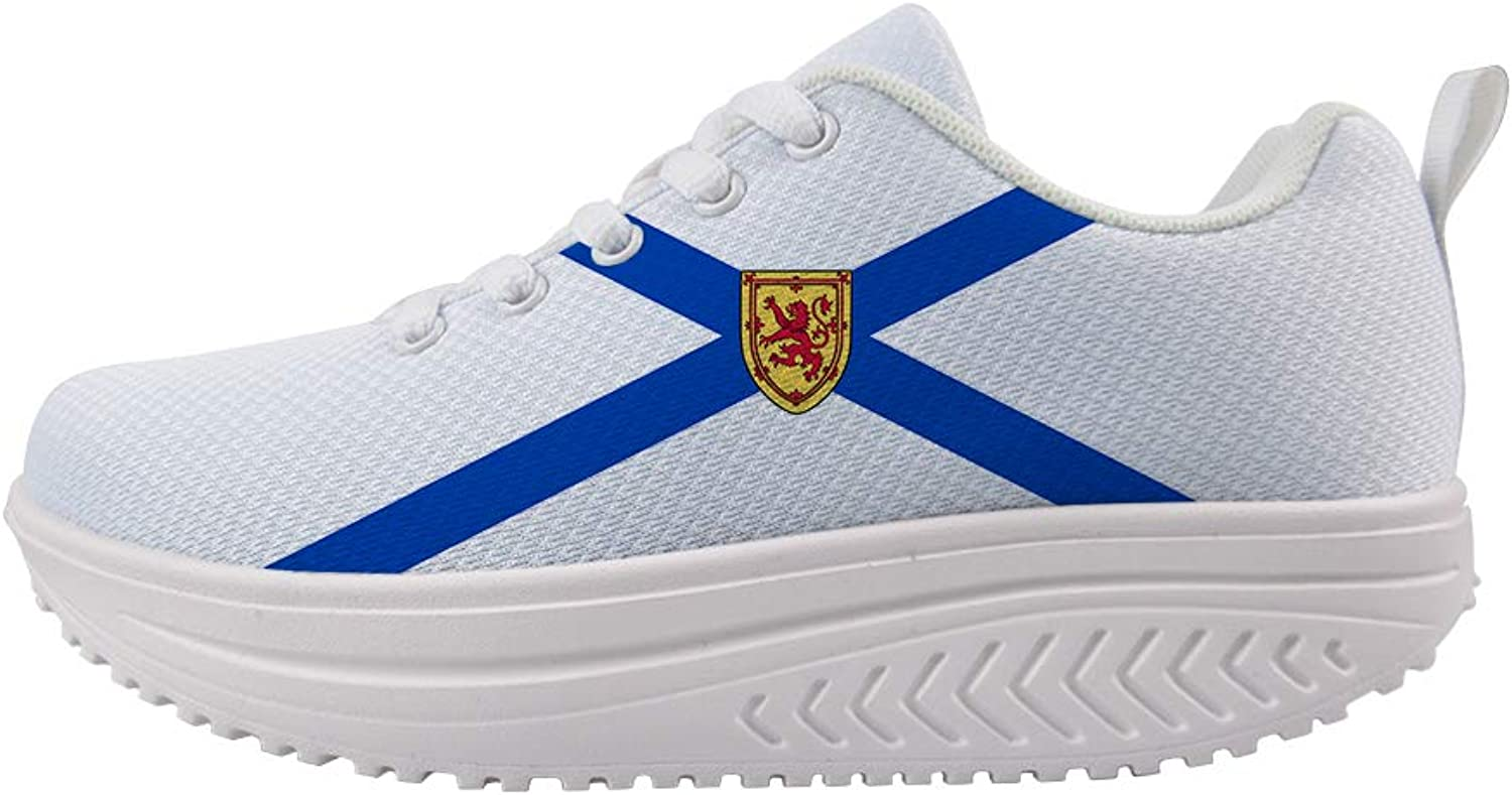 Owaheson Swing Platform Toning Fitness Casual Walking shoes Wedge Sneaker Women Nova Scotia Flag