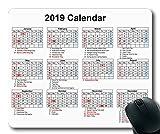 Yanteng 2019 Calendario Tappetino per Mouse Personalizzato, Calendario USA Tappetini per Mouse da Gioco, Agenda Calendario 2019 con Dettagli Festivi