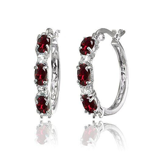 Sterling Silver Oval Synthetic Ruby & Princess-cut White Topaz Filigree Hoop Earrings