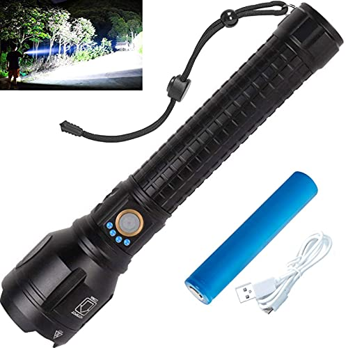 LYLTING XHP90 LED Rechargeable Flashlight, 100000 Lumens Powerful Zoomable Flashlight with USB Cable &10000mAh Battery, IPX6 Waterproof, High Lumen, Super Bright Flashlight for Camping Hiking