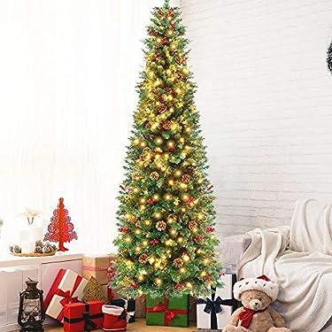 OurWarm - Árbol de Navidad preiluminado de 5.9ft, con bisagras de abeto artificial, con 350 luces LED, 900 puntas de rama, soporte de metal sólido, 55 bayas, conos de 55 pinos, árbol de Navidad para oficina y hogar