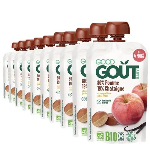 Good Goût - BIO - Gourde de Purée de Fruits Pomme Chataigne dès 4 Mois 120 g - Pack de 10